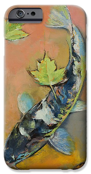 Michael Paintings iPhone Cases - Koi with Japanese Maple Leaves iPhone Case by Michael Creese