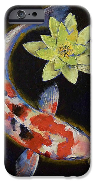 Oriental Paintings iPhone Cases - Koi with Yellow Water Lily iPhone Case by Michael Creese