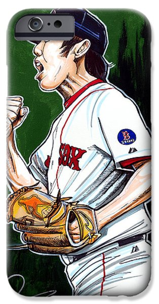 Baseball Drawings iPhone Cases - Koji Uehara Boston Red Sox iPhone Case by Dave Olsen