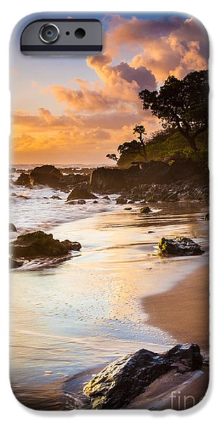 Wavy iPhone Cases - Koki Beach Sunrise iPhone Case by Inge Johnsson