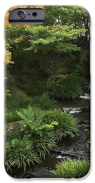 KOKOEN GARDEN WATERFALL - HIMEJI JAPAN iPhone Case by Daniel Hagerman