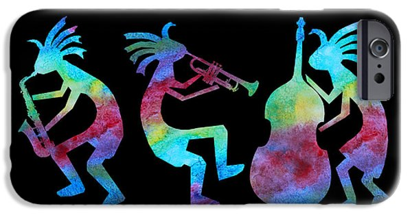 Trio iPhone Cases - Kokopelli Jazz Trio iPhone Case by Jenny Armitage