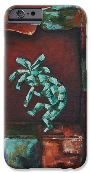 Sw New Mexico iPhone Cases - Kokopelli Set in Stone iPhone Case by Judy Lybrand