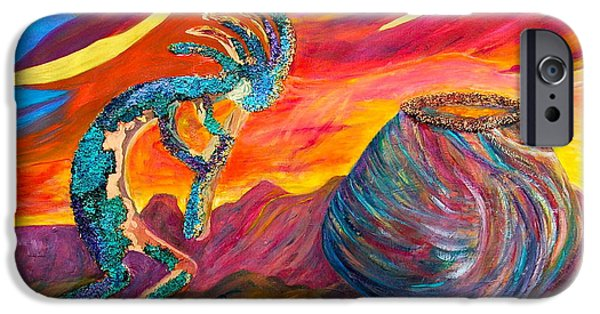 Fertility Paintings iPhone Cases - Kokopellie At Sunset iPhone Case by Joe Bourne
