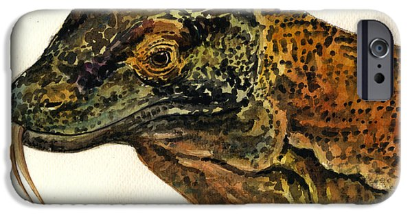 Reptile Paintings iPhone Cases - Komodo monitor iPhone Case by Juan  Bosco
