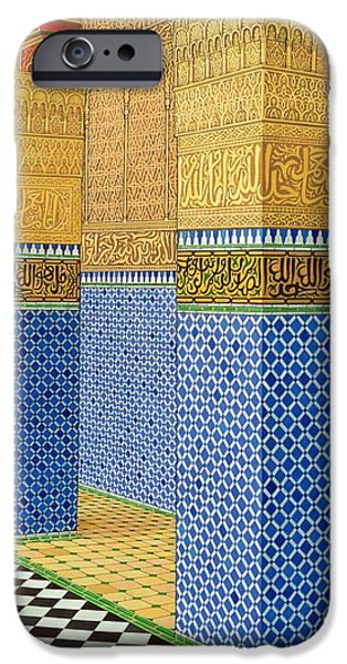 Mosaic iPhone Cases - Koranic School, Fez, 1998 Acrylic On Linen iPhone Case by Larry Smart