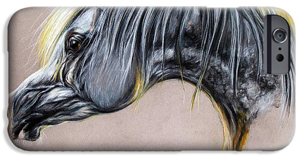 Horse Pastels iPhone Cases - Kordelas polish arabian horse soft pastel iPhone Case by Angel  Tarantella