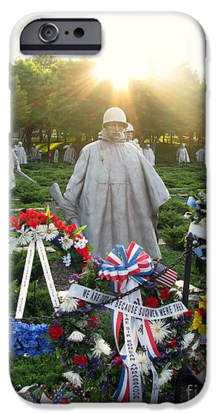 D.c. iPhone Cases - Korean War Memorial in DC iPhone Case by Olivier Le Queinec
