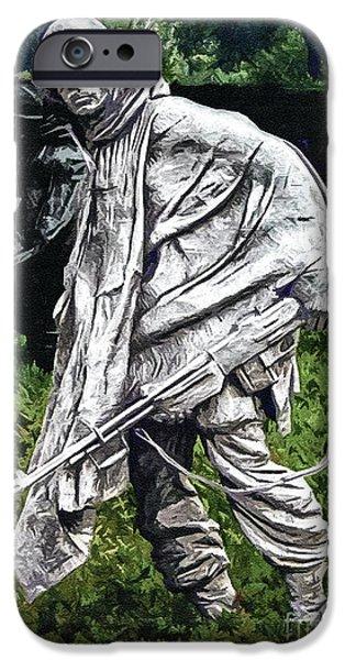 5th Infantry Regiment iPhone Cases - Korean War Veterans Memorial  BARman iPhone Case by  Bob and Nadine Johnston