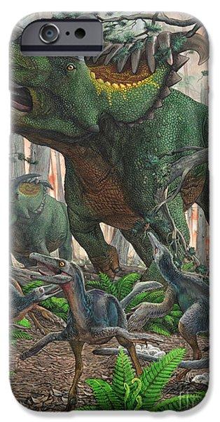 Wildlife Disasters iPhone Cases - Kosmoceratops Tramples Over Nesting iPhone Case by Sergey Krasovskiy