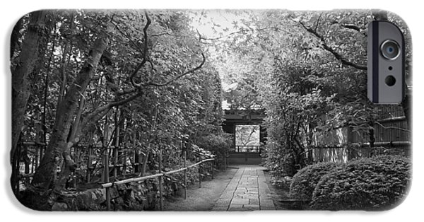 Bamboo Fence iPhone Cases - Koto-in Temple Stone Path iPhone Case by Daniel Hagerman