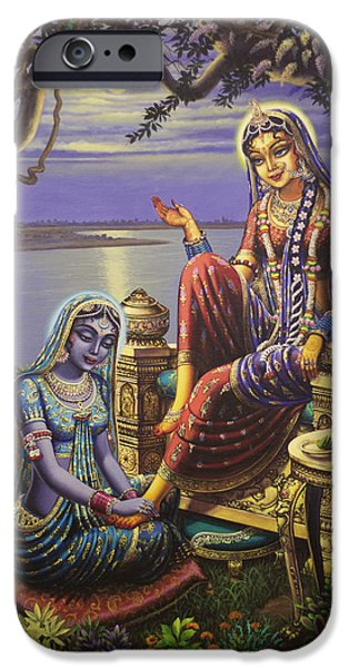 Kundalini iPhone Cases - Krishna disguised as gopi iPhone Case by Vrindavan Das