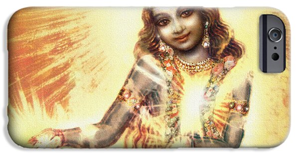 Hindu Goddess iPhone Cases - Krishna Vision in the Clouds iPhone Case by Ananda Vdovic