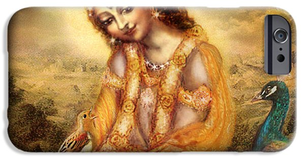 Religious iPhone Cases - Krishna with the Peacock Detail iPhone Case by Ananda Vdovic