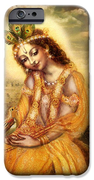 Krishna with the Peacock Detail iPhone Case by Ananda Vdovic