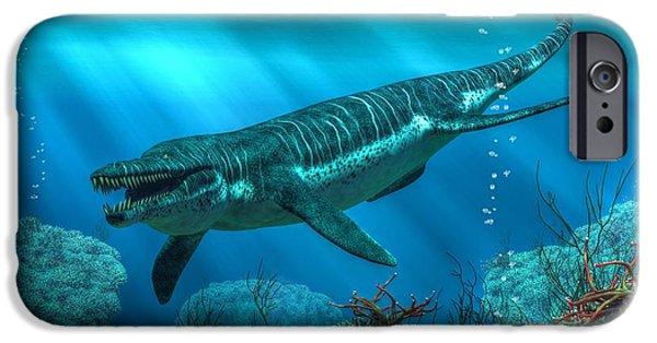 Triassic iPhone Cases - Kronosaurus iPhone Case by Daniel Eskridge