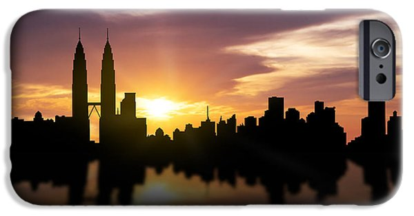 Skyscraper Mixed Media iPhone Cases - Kuala Lumpur Sunset Skyline  iPhone Case by Aged Pixel