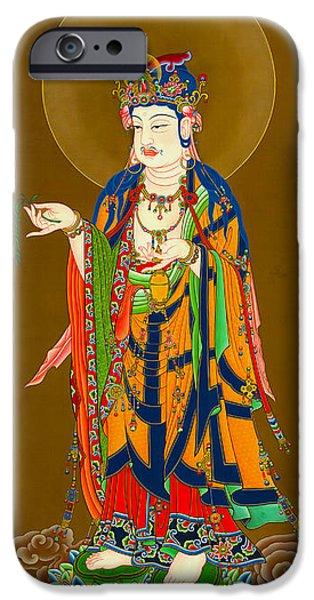 Bodhisatva iPhone Cases - Kuan Yin Bodhisattva 1 iPhone Case by Lanjee Chee