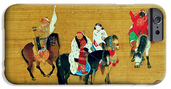 Horse iPhone Cases - Kublai Khan 1214-94 Hunting, Yuan Dynasty Ink & Colour On Silk Detail iPhone Case by Liu Kuan-tao