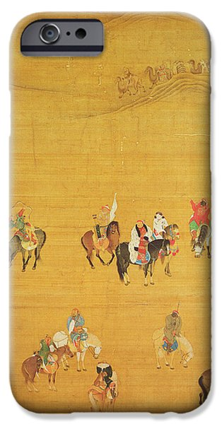 Horse iPhone Cases - Kublai Khan 1214-94 Hunting, Yuan Dynasty Ink & Colour On Silk See 110534 & 226021 For Detail iPhone Case by Liu Kuan-tao