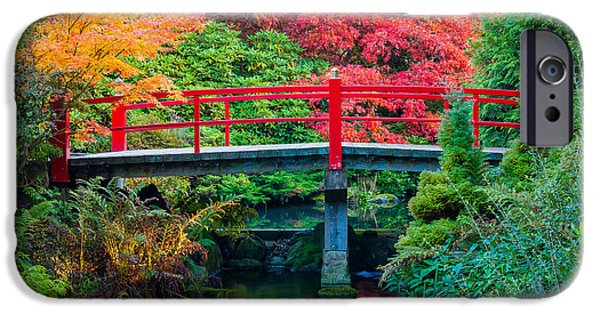Pathway iPhone Cases - Kubota Gardens Bridge Number 2 iPhone Case by Inge Johnsson