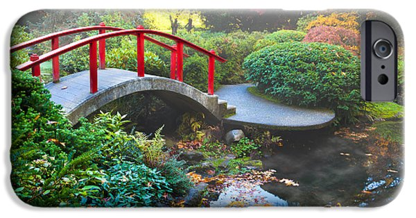Pathway iPhone Cases - Kubota Gardens Fog iPhone Case by Inge Johnsson
