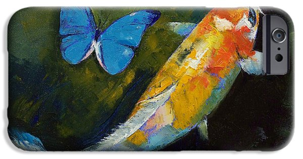 Butterfly Koi iPhone Cases - Kujaku Koi and Butterfly iPhone Case by Michael Creese