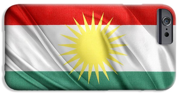 Iraq iPhone Cases - Kurdistan flag iPhone Case by Les Cunliffe
