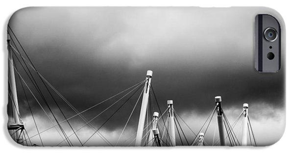 Grey Clouds Photographs iPhone Cases - Kurilpa Bridge In Monocrome iPhone Case by Parker Cunningham