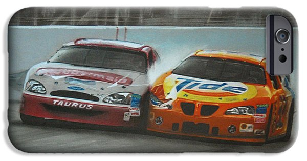Close Drawings iPhone Cases - Kurt Busch and Ricky Craven-2003 Darlington Finish iPhone Case by Paul Kuras