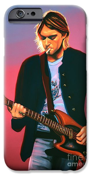 Nirvana iPhone Cases - Kurt Cobain 2 iPhone Case by Paul Meijering