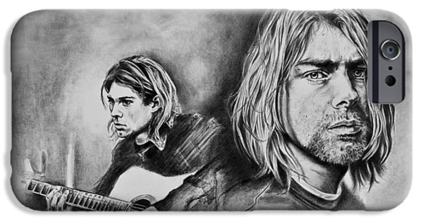 Stratocaster Drawings iPhone Cases - Kurt Cobain iPhone Case by Art Imago