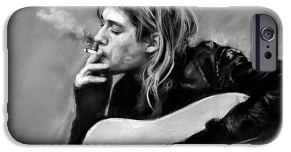 Smoking iPhone Cases - Kurt Cobain guitar  iPhone Case by Viola El