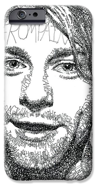 20th Drawings iPhone Cases - Kurt Cobain iPhone Case by Michael  Volpicelli