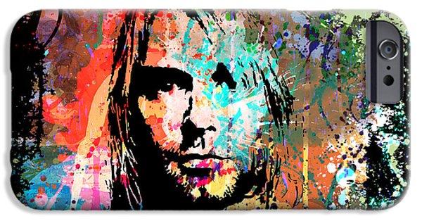 Gary Grayson iPhone Cases - Kurt Cobain Portrait iPhone Case by Gary Grayson