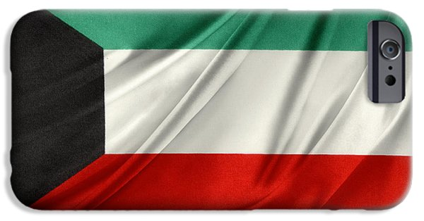 Flag iPhone Cases - Kuwait flag  iPhone Case by Les Cunliffe