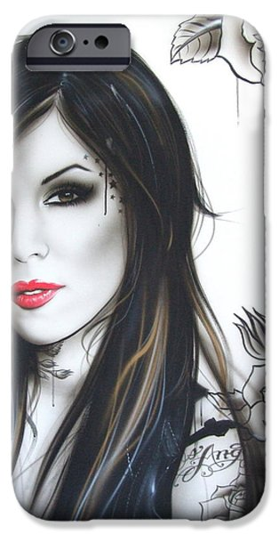 Lips iPhone Cases - k.v.d iPhone Case by Christian Chapman Art