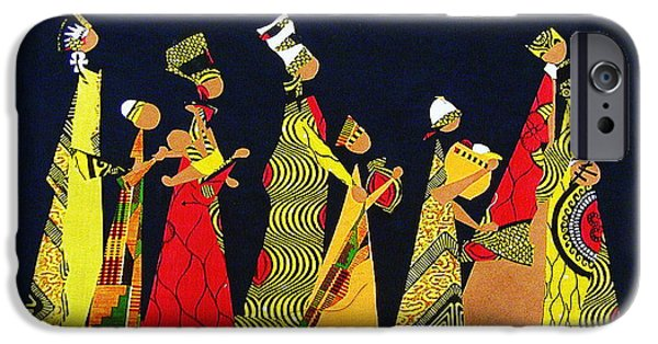 African-americans Tapestries - Textiles iPhone Cases - Kwaanza Celebration iPhone Case by Ruth Yvonne Ash