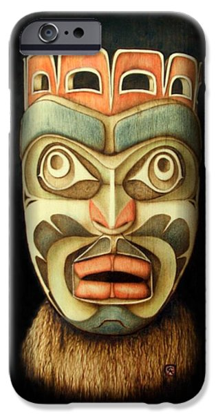 With Pyrography iPhone Cases - Kwakiutl Free Spirit Mask iPhone Case by Cynthia Adams