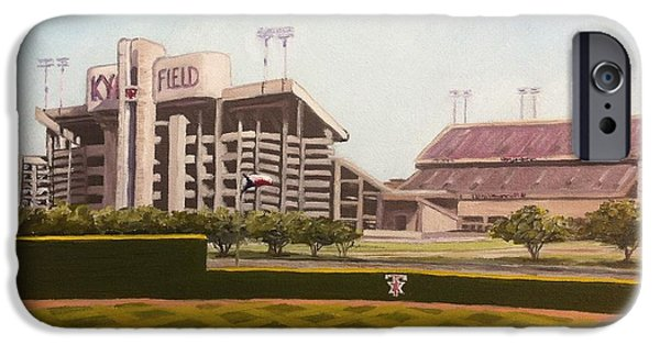Baseball Stadiums Paintings iPhone Cases - Kyle Field iPhone Case by Wade Powell