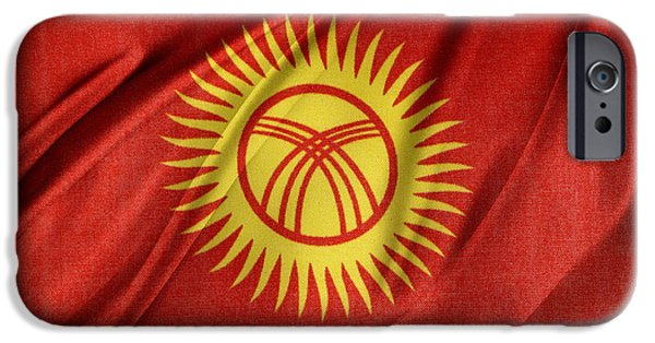 Patriotism iPhone Cases - Kyrgyzstan flag iPhone Case by Les Cunliffe
