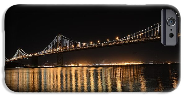 Bay Bridge iPhone Cases - L E D Lights on the Bay Bridge iPhone Case by David Bearden