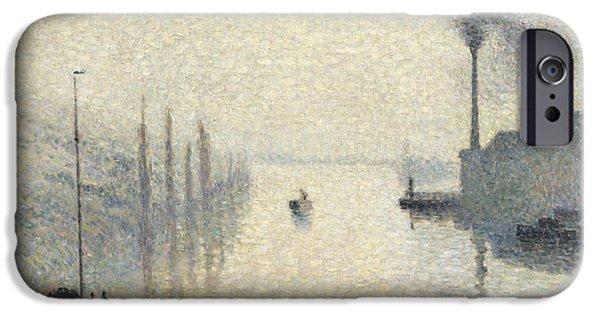 Pissarro iPhone Cases - L Ile Lacroix. Rouen. The Effect of Fog iPhone Case by Camille Pissarro