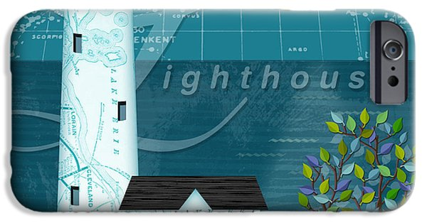 The Houses Mixed Media iPhone Cases - L is for Lighthouse iPhone Case by Valerie   Drake Lesiak