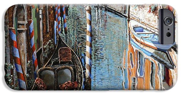 Sunshine Paintings iPhone Cases - La Barca Al Sole iPhone Case by Guido Borelli