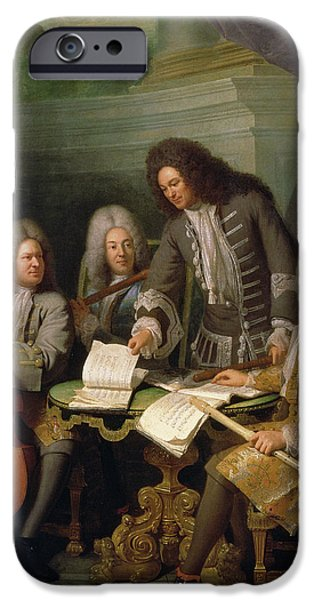 Flute iPhone Cases - La Barre And Other Musicians, C.1710 Oil On Canvas iPhone Case by Andre Bouys