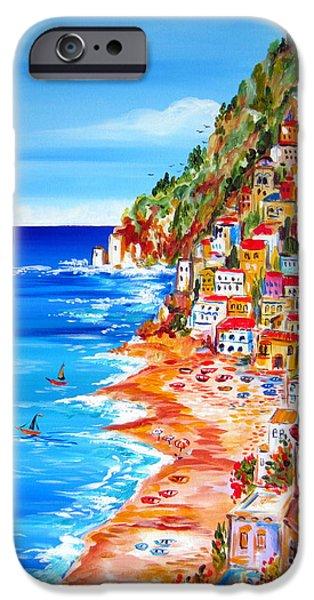 Roberto Paintings iPhone Cases - La Bella Positano Amalfi Coast iPhone Case by Roberto Gagliardi