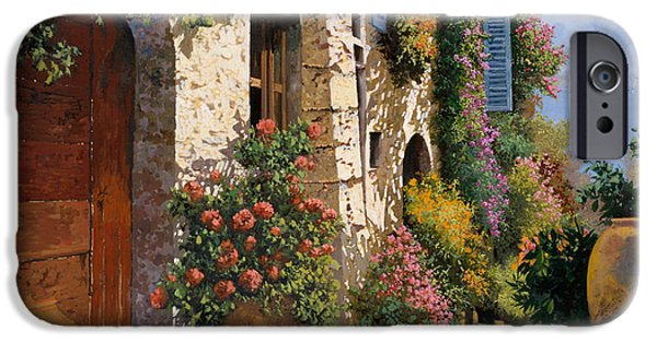 Vase iPhone Cases - La Bella Strada iPhone Case by Guido Borelli