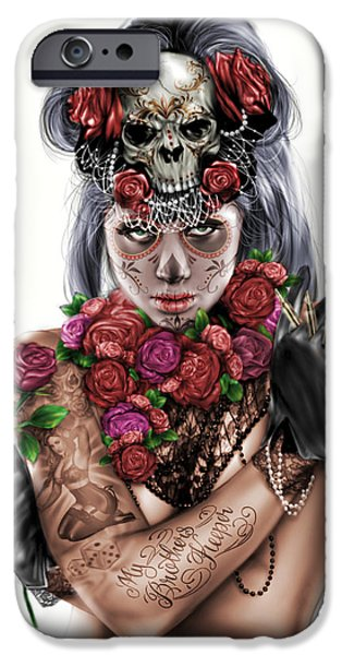 Pete iPhone Cases - La Calavera Catrina iPhone Case by Pete Tapang