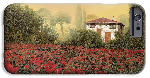 White House Paintings iPhone Cases - La casa e i papaveri iPhone Case by Guido Borelli